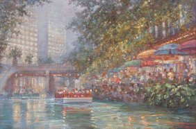 "Robert Hamman, ""casa Rio At Dusk"", Oil On Canvas"