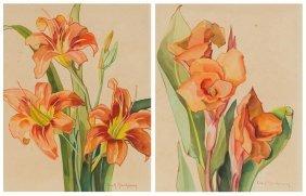 Ella K. Mewhinney (1891-1975), Pair Of Florals