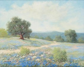 "Hazel Massey (1907-1990), ""texas Blue Bonnets"", Oil"