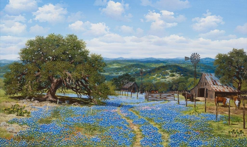 W.A. Slaughter (1923-2003), Bluebonnets, oil on canvas