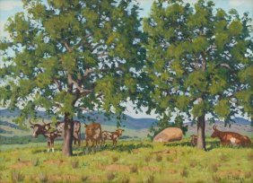 Fred Darge (1900-1978), Longhorns At Pasture, Oil