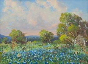"""Carl Hoppe (1897-1981), """"bluebonnets & Oaks, Boerne"""""""
