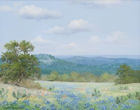Robert Harrison, Bluebonnets, Oil On Canvas