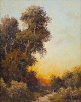 A.d. Greer (1904-1998), Sunset In Texas, Oil On Canvas