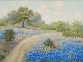 Pedro Lazcano (1909-1973), Bluebonnets, Oil On Canvas