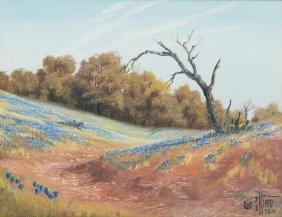 P.b. Kime, Hill Country Bluebonnets, 1978, Oil