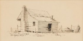 "G. Harvey (b. 1933), ""old Ranch House"", Ink On Paper"
