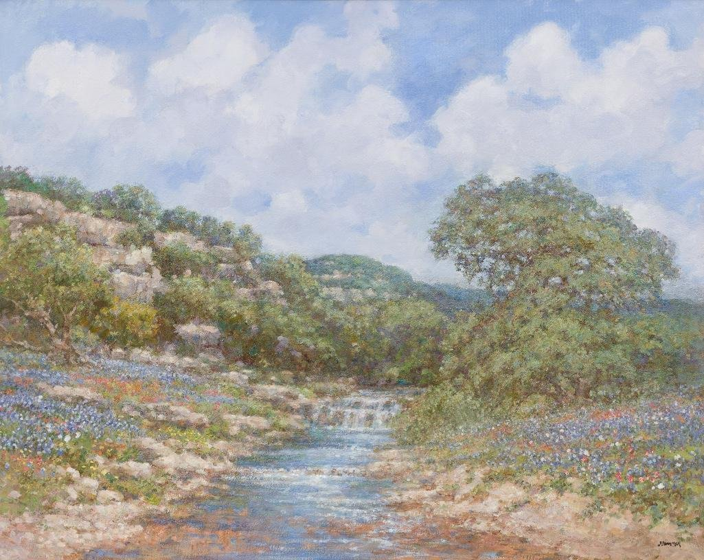 "Robert Hamman, ""Bluebonnet Falls"", oil on canvas"