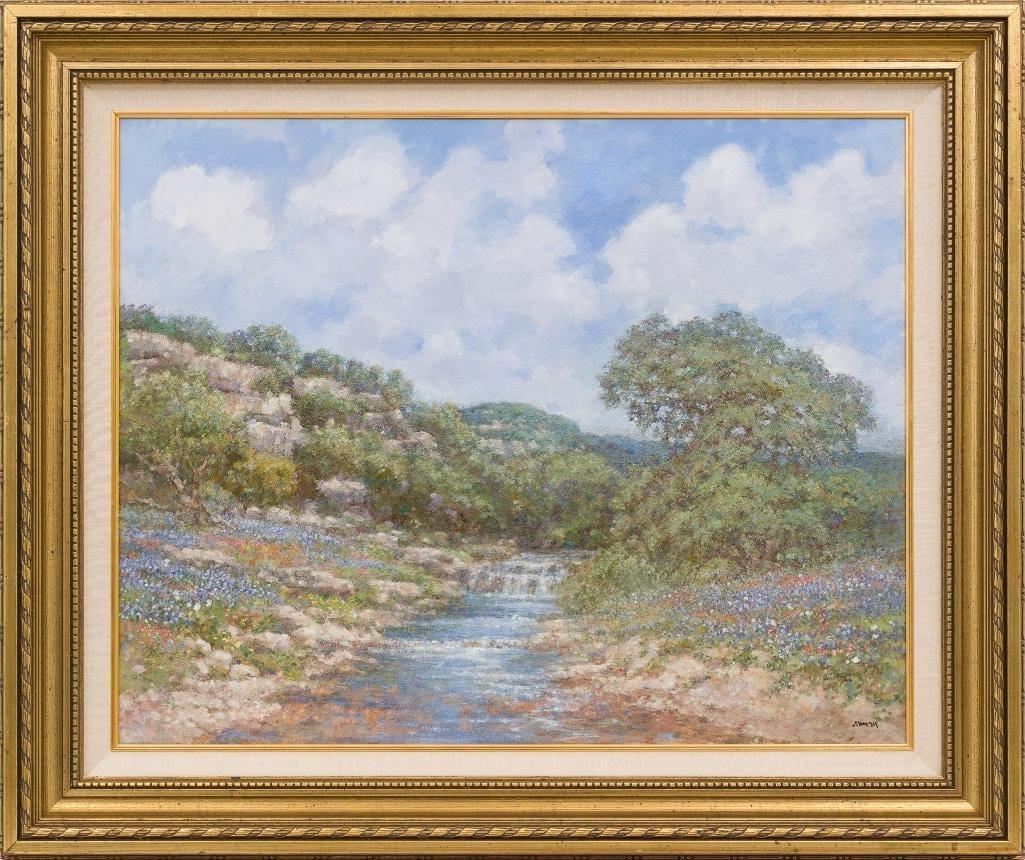 "Robert Hamman, ""Bluebonnet Falls"", oil on canvas - 2"