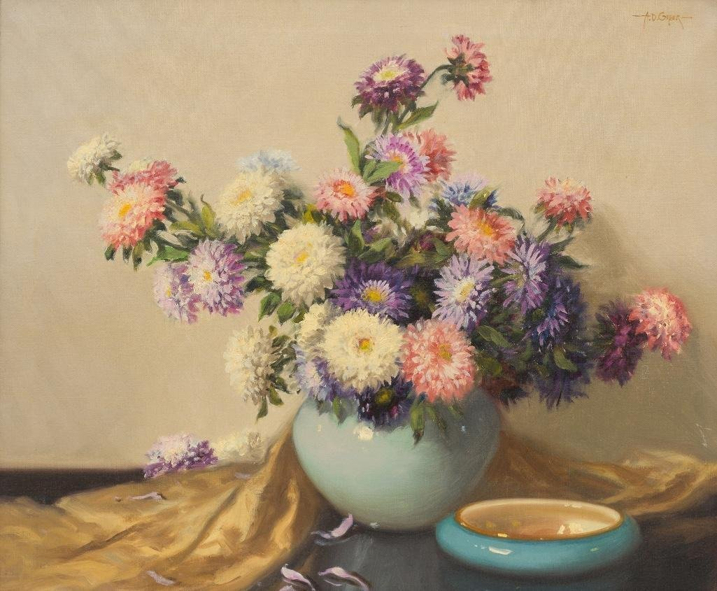 """A.D. Greer (1904-1998), """"Mums"""", oil on canvas"""