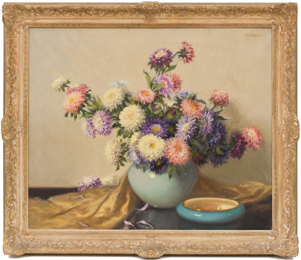 """A.D. Greer (1904-1998), """"Mums"""", oil on canvas - 2"""