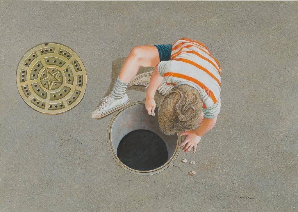 Ancel Nunn (1928-1999), Boy Playing, watercolor