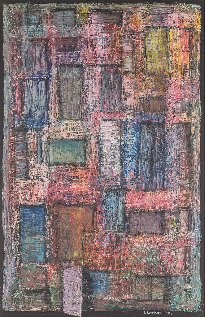 "Leslie Larsson (1913-1970), ""Tenement"", 1957, oil"