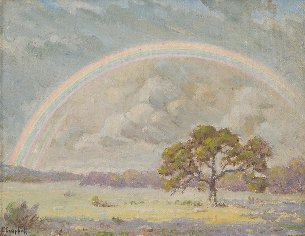 Orville Campbell (1903-1987), Hill Country Rainbow, oil