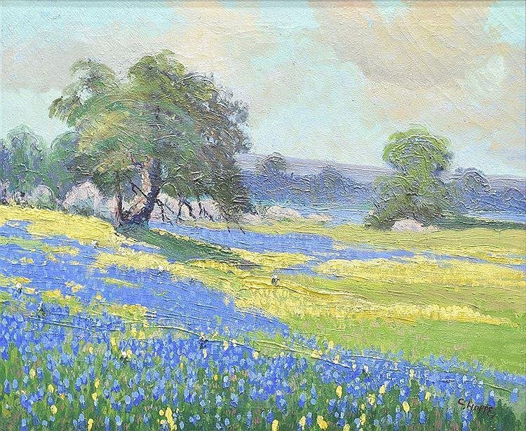 """Carl Hoppe (1897-1981), """"Yellow and Blue Bonnets"""", oil"""