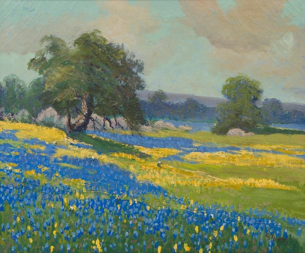"""Carl Hoppe (1897-1981), """"Yellow and Blue Bonnets"""", oil - 4"""