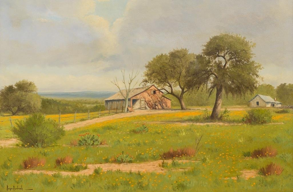 "Hugo Herbeck (1923-2009), ""Fredericksburg Barn"", oil"