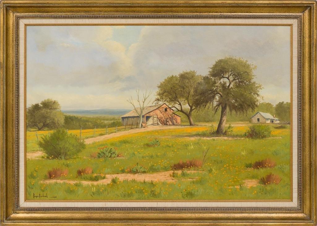 """Hugo Herbeck (1923-2009), """"Fredericksburg Barn"""", oil - 2"""