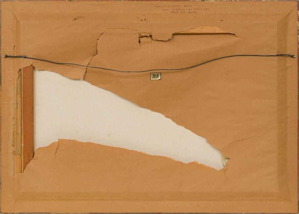 """Hugo Herbeck (1923-2009), """"Fredericksburg Barn"""", oil - 4"""