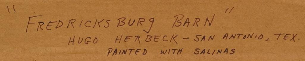 """Hugo Herbeck (1923-2009), """"Fredericksburg Barn"""", oil - 5"""