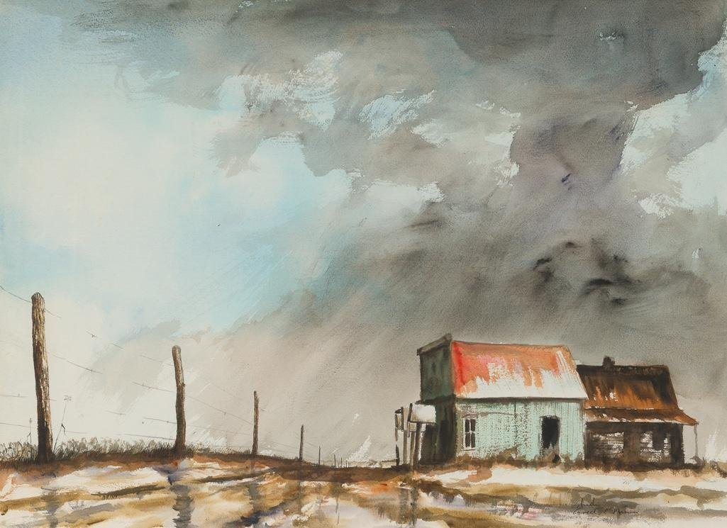 Ancel Nunn (1928-1999), Study for Rainstorm Farm Scene