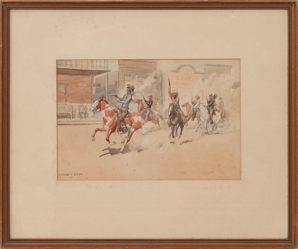 Leonard Reedy (1899-1956), Shootout in Town, 1939, w/c - 2