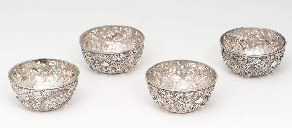 4 Chinese Export Sterling Dragon Bowls