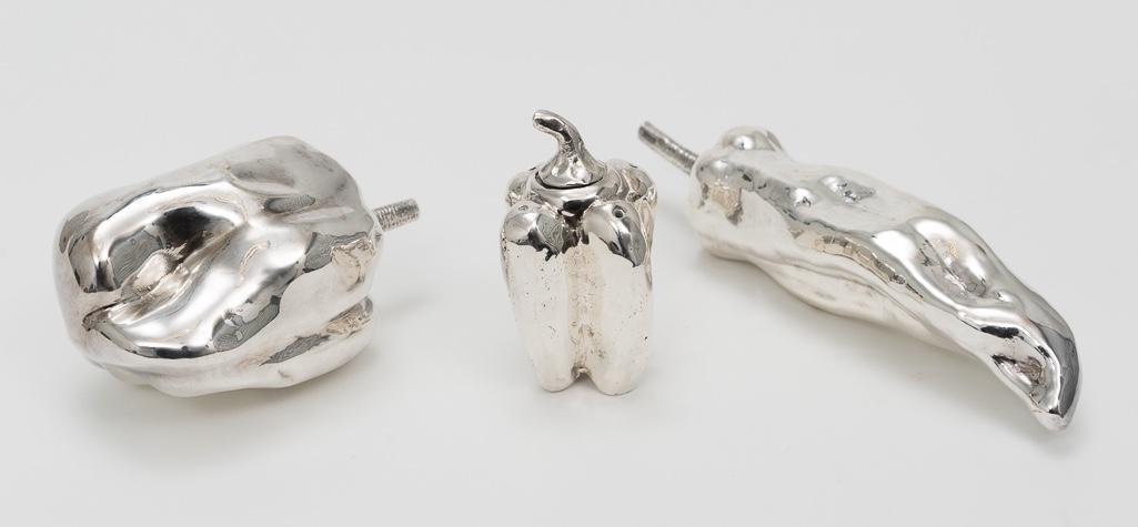3 Decorative Silver Peppers