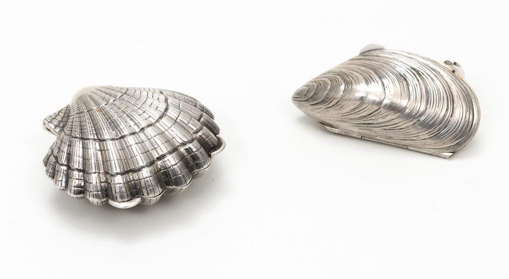 2 Sterling Shell Pill Boxes