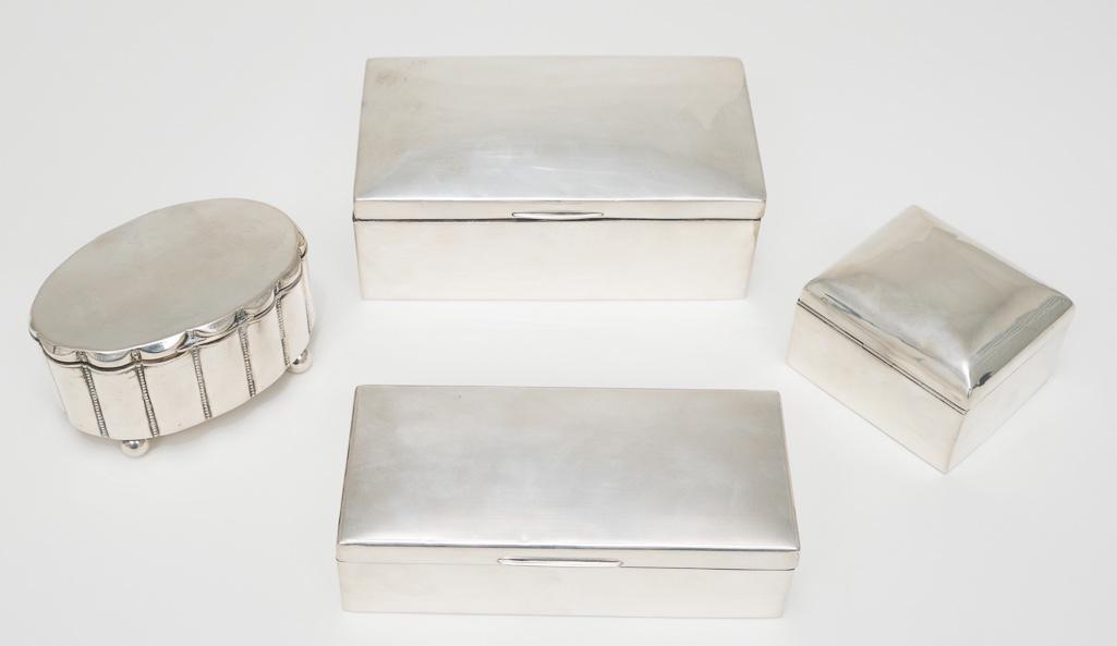 4 Decorative Silver Boxes