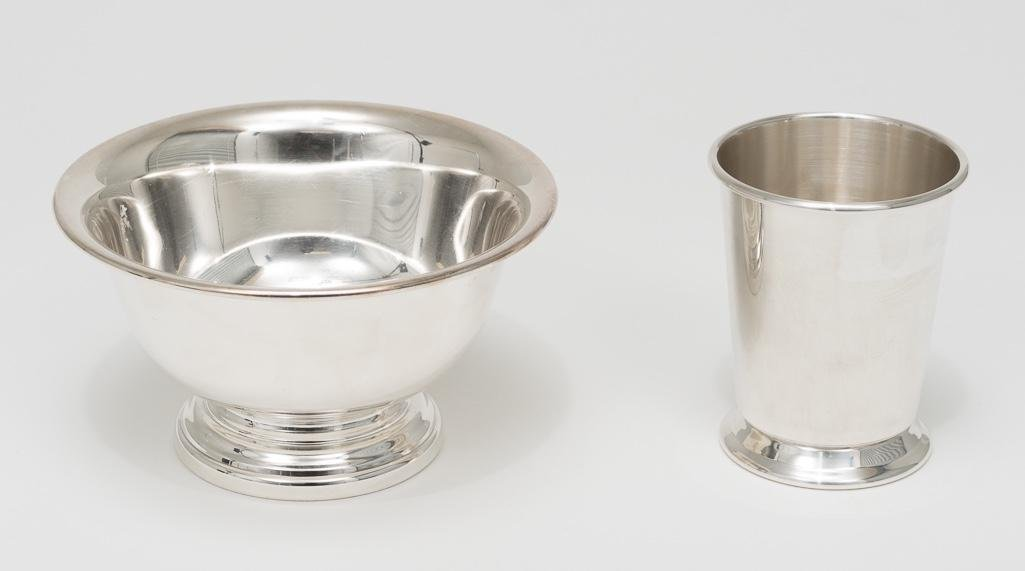 Small silver plate bowl and silver Wallace julep cup