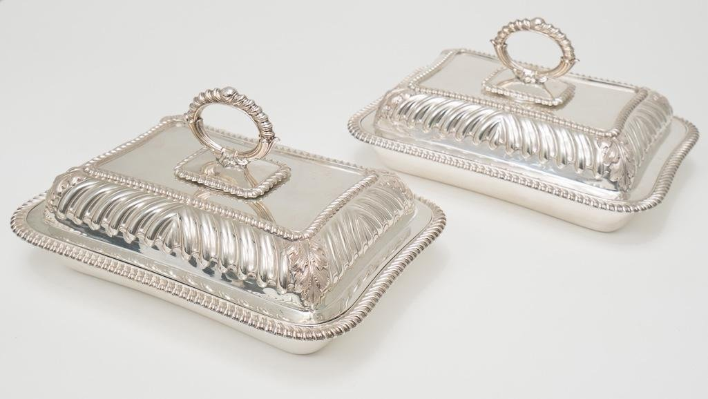 Pair of Martin, Hall & Co. silver plate serving dishes
