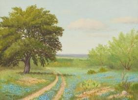 Manuel Garza (b. 1940), Bluebonnets, 1972, oil/canvas