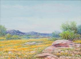 Exa Wall (1897-1972), Gold on Pink Granite Hills, oil