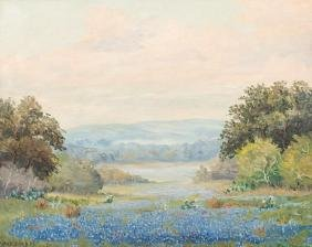 Mae Barbee Bruening (1908-1994), Bluebonnets, oil