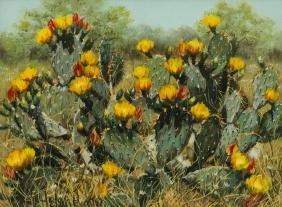 Helen Hunter (1920-2003), Blooming Cactus, oil