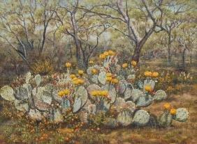 Rillie Moseley (1915-1988), Blooming Cactus, oil