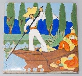 San Jose Art Pottery, Man on a Flower Boat tile