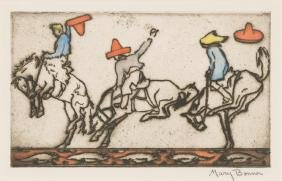 Mary Bonner (1887-1935), Broncos, 1926, Hand-colored