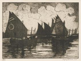 Mary Bonner (1887-1935), Ships, 1925, etching 10/50