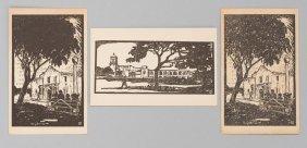 Mary Bonner (1887-1935), Set of 3 Missions woodblocks