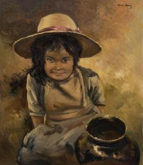 Jose Vives-Atsara (1919-2004), Nina Indigena, 1956, oil