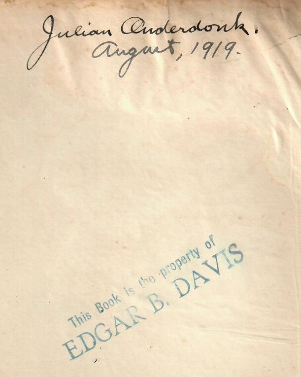 Book owned by Julian Onderdonk and Edgar B. Davis