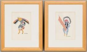 Pablita Velarde (1918-2006), Pair of Dancers, gouache