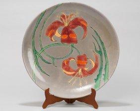 San Jose Art Pottery, Lilies charger, glazed ceramic