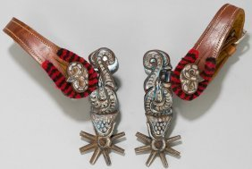 Amozoc Mexcian double silver inlaid snake pattern spurs