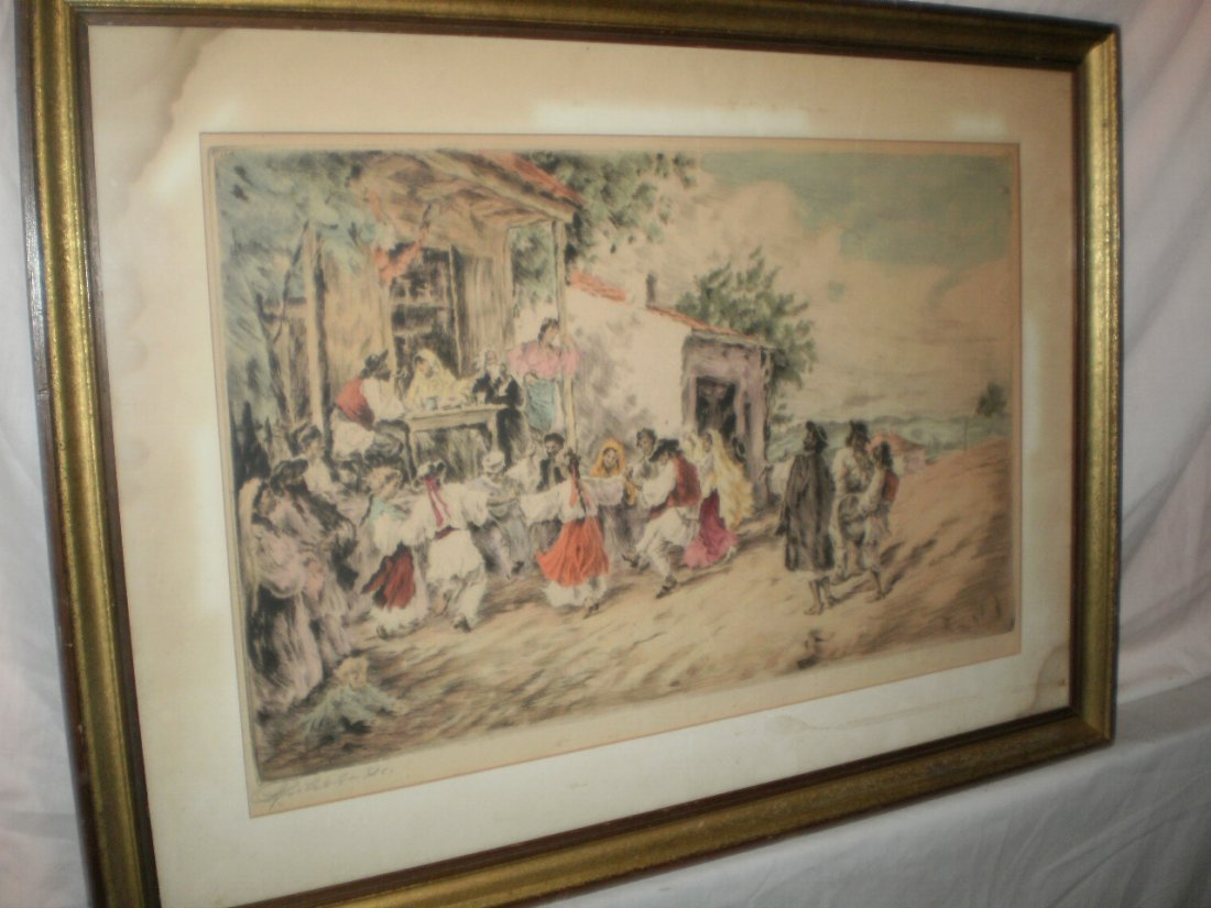 RUSSIAN? 19TH CENTURY HAND COLORED ETCHING