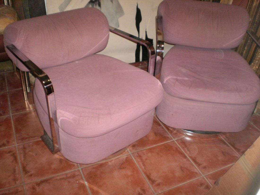 MILO BAUGHMAN Swivel Chairs, Pair MID CENTURY