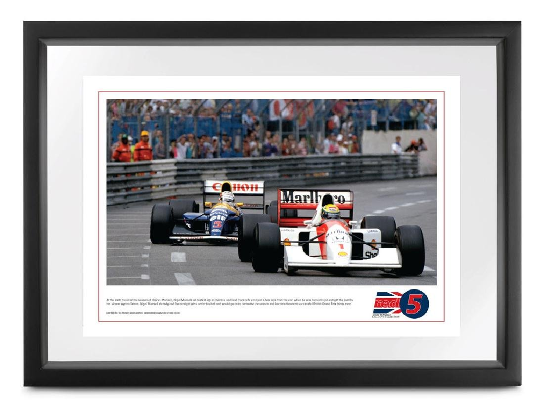 Ayrton Senna, 'Chase', signed Nigel Mansell