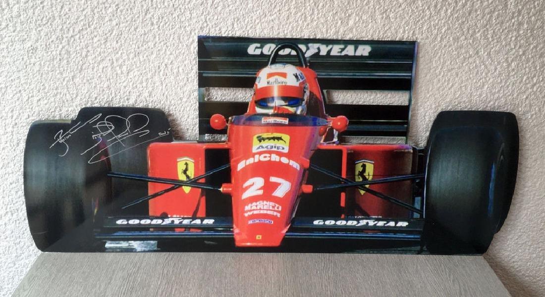 Nigel Mansell signed Ferrari F1-89, Metal Cut-out